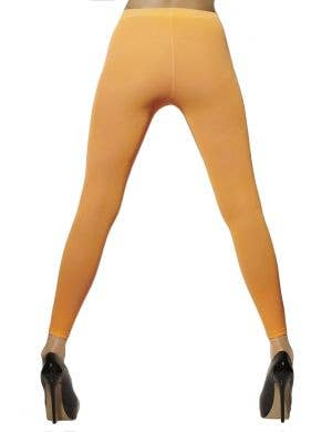 Opaque Fluro Orange Footless Costume Tights Back View
