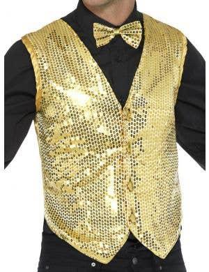 Showman Gold Men's Sequin Waistcoat Costume Vest