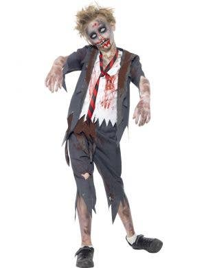 Boy's School Student Zombie Halloween Costume Front View