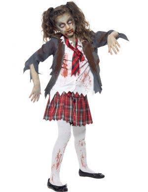 Zombie Girl's School Uniform Costume Front View