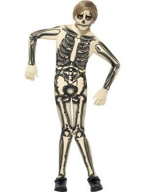 Boy's Black Skeleton Halloween Onesie Costume Front View