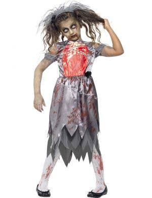 Zombie Bride Girl's Halloween Fancy Dress Costume Front