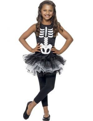Skeleton Girl's Tutu Fancy Dress Costume Front