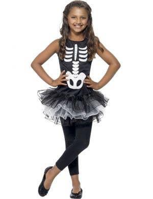 Skeleton Girl's Tutu Fancy Dress Costume Front
