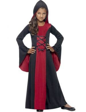 Girl's Red and Black Vampire Costume Robe Front View