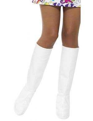 1960's Women's White GoGo Boot Covers Costume Accessory