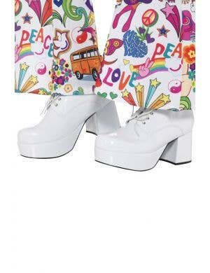 Men's White 70's Platform Smiffy's Fancy Dress Costume Disco Shoes