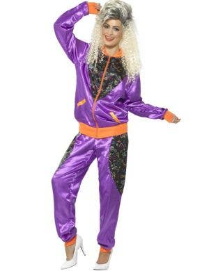 Retro Shell Suit Women's Purple 1980's Costume