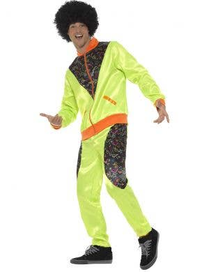Neon Green 1980's Retro Shell Suit Men's Costume