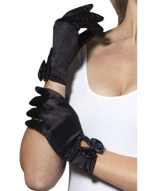 Black Satin Wrist Length Costume Gloves with Attached Bow