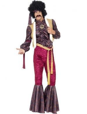Psychadelic rocker mens 1970 fancy dress costume front view
