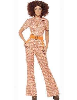 70's Chic Women's Retro Orange Jumpsuit Costume, Front View