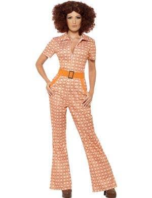 70's Chic Women's Retro Orange Jumpsuit Costume, Front View