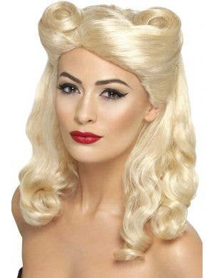 Women's Blonde 1940's Rockabilly Pin Up Costume Wig