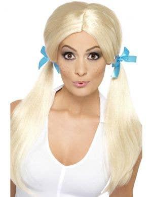 Sassy Women's Schoolgirl Blonde Pigtails Costume Wig