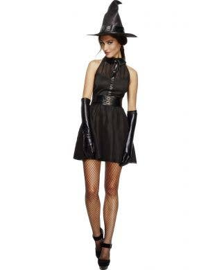 Women's Cute Black Witch Fancy Dress Costume Front View