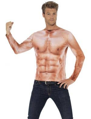 Realistic Muscles Print Men's Funny Costume Top Image 1