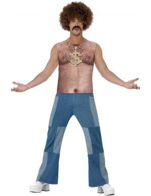 Realistic Men's Funny 1970's Hairy Chest Costume Top