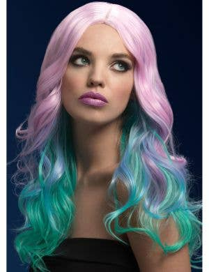 Khloe Heat Resistant Curly Pastel Rainbow Ombre Wig