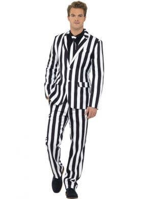 Black And White Striped Men's Beetlejuice Costume Suit Front
