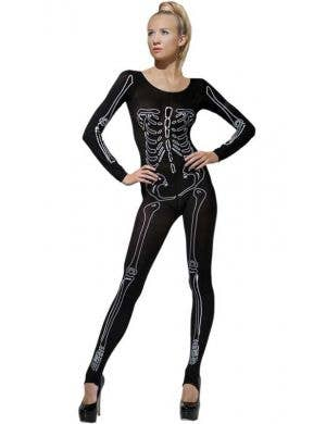 Skeleton Print Bodystocking Women's Halloween Costume