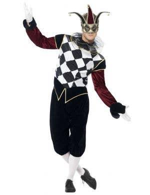 Men's Gothic Harlequin Halloween Costume Front View