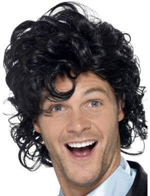 1980's Prom King Men's Curly Black Costume Wig