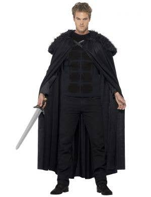 Men's Fleece And Fur Barbarian Fancy Dress Costume Alt View