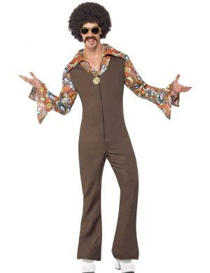 Men's 1960's Groovy Hippie Jumpsuit Fancy Dress Costume Front