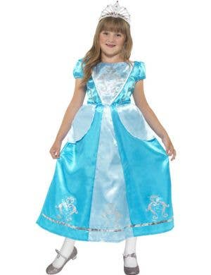 Girl's Blue Princess Fancy Dress Cinderella Costume Front View