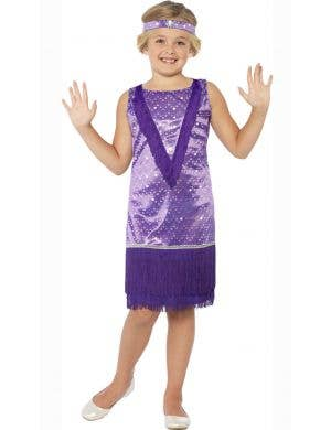 Girl's 1920's Purple Flapper Costume Front View
