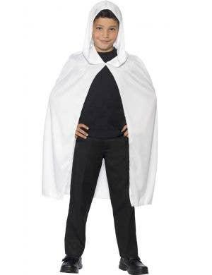 Kids White Hooded Costume Cape Main Image