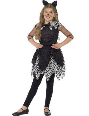 Girl's Leopard Print Cat Fancy Dress Animal Costume Front View