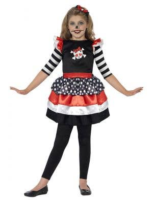 Girls Skeleton Dress Halloween Costume Front View