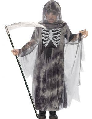 Boy's Ghostly Grim Reaper Halloween Costume Front View
