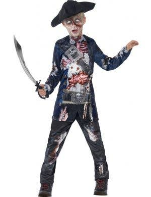 Boy's Pirate Zombie Halloween Costume Front View