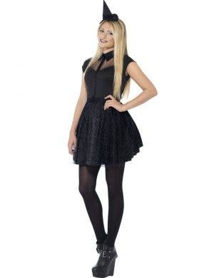 Teen Witch Girl's Black Halloween Fancy Dress Costume Front