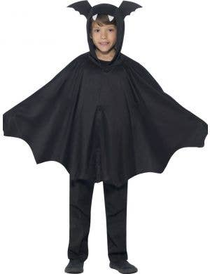 Kid's Black Bat Hooded Cape Costume Front View