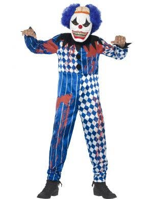 Boy's Blue Creepy Clown Costume Front View