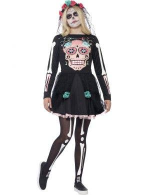 Teen Girl's Day of the Dead Sugar Skull Mexican Costume Front