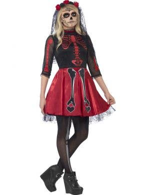 a4b3a8aeb78f7 Teen Girl's Red and Black Sugar Skull Mexican Costume Front Day of the Dead  ...