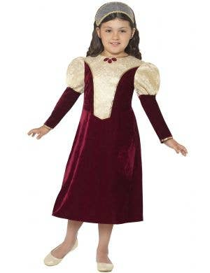 Girl's Tudor Damsel Princess Medieval Kid's Fancy Dress Costume Front View