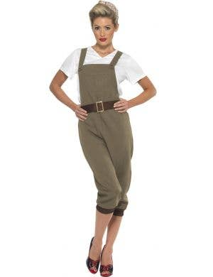 WW2 Land Girl Light Khaki Green Women's Costume