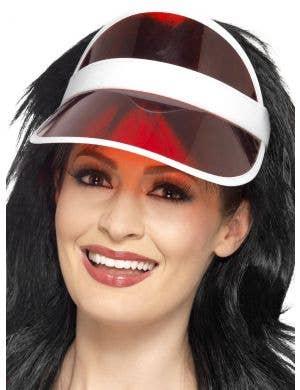 1980's Red Poker Visor Costume Hat
