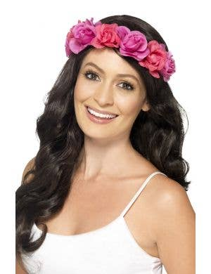 Pink Rose Flower Headband Crown Costume Accessory View 1