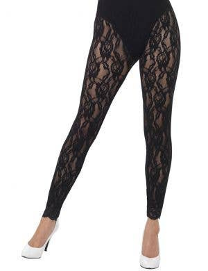 1980's Black Lace Women's Footless Costume Leggings