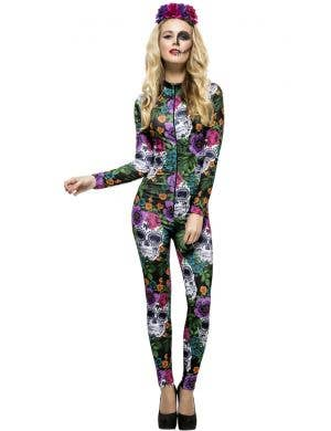 Day of the Dead Sugar Skull Jumpsuit Women's Costume