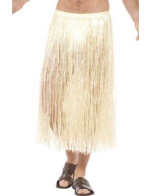 Natural Hawaiian Grass Skirt with Plain Waistband
