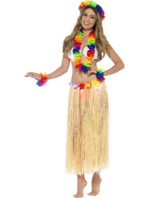 Rainbow Hula Dancer Flower Lei Accessory Set Main Image