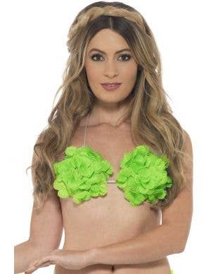 Green Hawaiian Flower Bra Costume Accessory